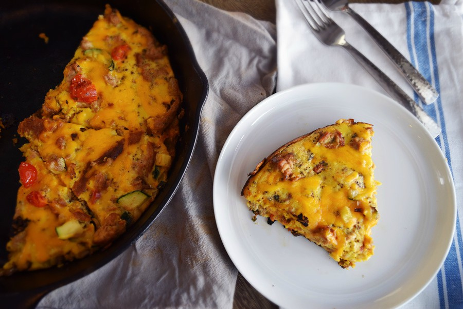 Cheesy Veggie Turkey Fritatta, Easy Fritatta