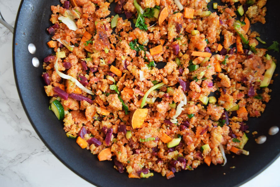 Are you looking for a quick, easy back-to-school breakfast? This Sweet Potato, Beet, Quinoa Breakfast Scramble can be made in advance and reheated on busy mornings | Quick, healthy breakfast