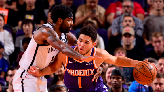 Devin Booker (right) of the Phoenix Suns; Kyrie Irving of the Brooklyn Nets