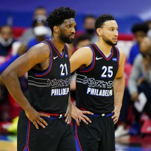 Ben Simmons (right) and Joel Embiid (left) of the Philadelphia 76ers