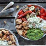 California Chicken, Veggie, Avocado and Rice Bowls.