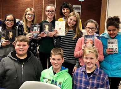 Author Margaret Peterson Haddix and students at Buckeye Book Fair's first Young Authors Day
