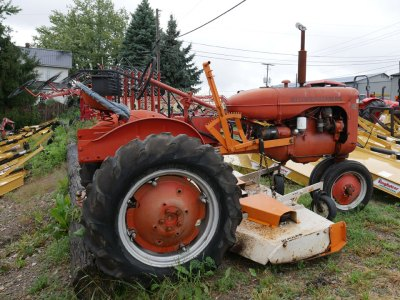 Old tractor with mower