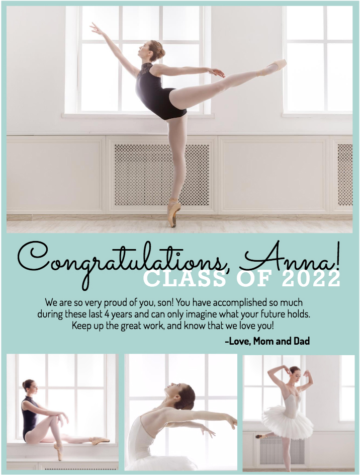 Grad ad with dancer