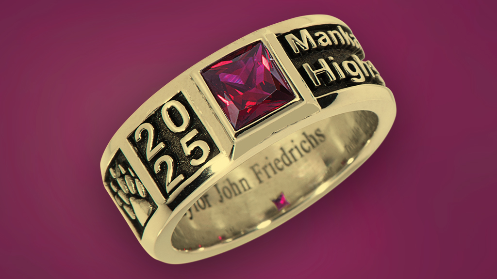 Gold Class Ring with Ruby Background
