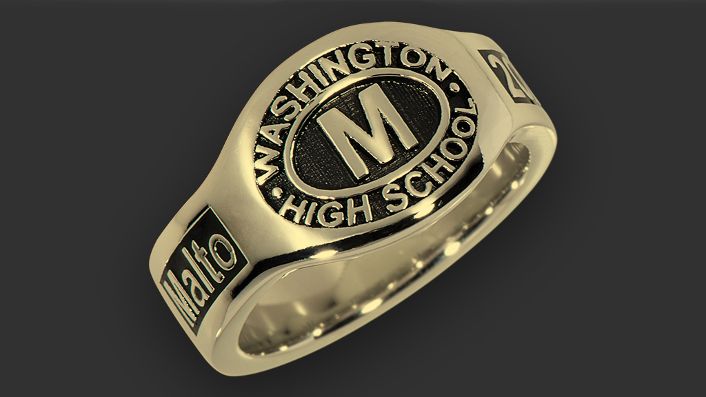 Gold Class Ring with Black Background