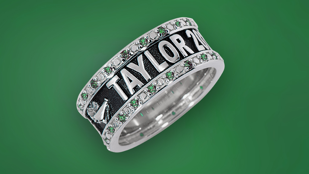 Silver class Ring with Green Background