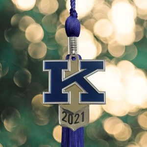 "Royal Blue tassel with a block ""K"" charm and graduation year"