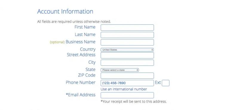 compilare le informazioni sull'account bluehost