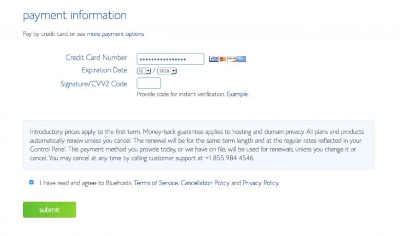 Informazioni sul pagamento