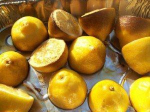 Smoked lemons in pan; photo credit Kat Kinsman