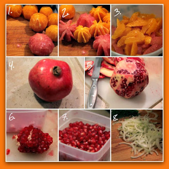 Citrus, Fennel & Pomegranate Salad_step by step_frame; photo by H. Kirby