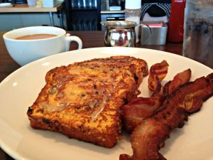 cinnamon french toast with house made bacon