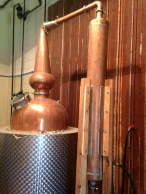 Copper still at Hewn Spirits. Photo credit Lynne Goldman