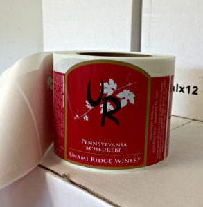 Unami Ridge Scheurebe labels; photo credit Lynne Goldman