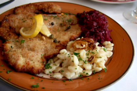 Schnitzel dinner from Driftless Appetite