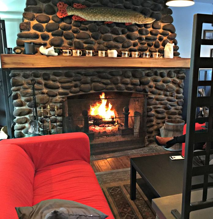 Stone fireplace at Bowman's North_photo credit Lynne Goldman