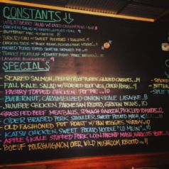 Bucks county food calendar Blackboard menu at Comfortfood and Kitchenette