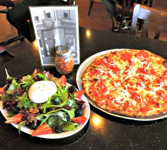 Burrata salad and tomato pie_photo courtesy of De Lorenzo's Tomato Pies