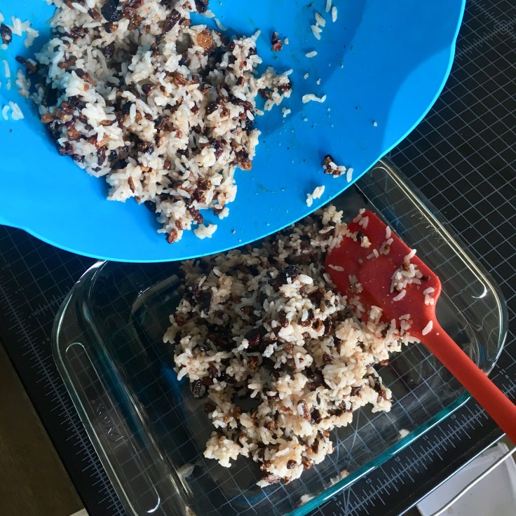 mix going into baking pan