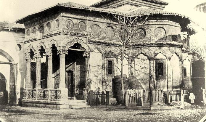 Biserica Stavropoleos (Hramul Sf. Arhangheli Mihail și Gavriil), la 1856. Foto de Ludwig Angerer
