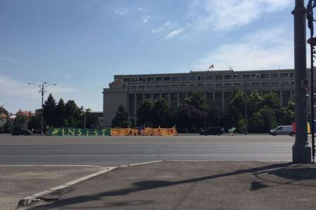 Bannere de sustinere pentru premierul Grindeanu in Piata Victoriei!