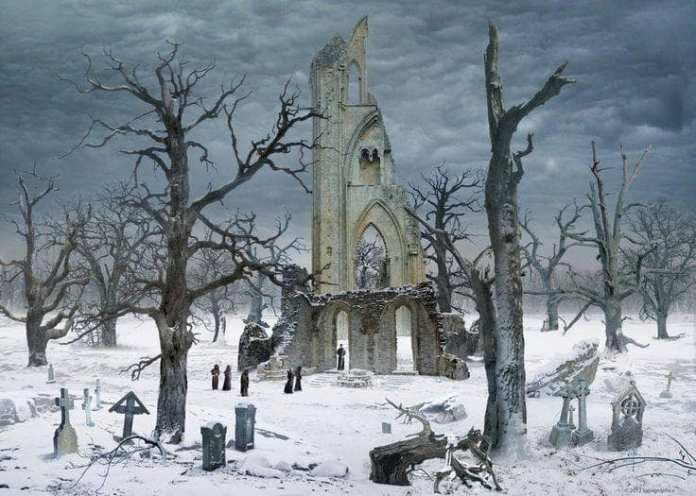 Winter Gothic Cloister Cemetery in the Snow by Caspar David Friedrich