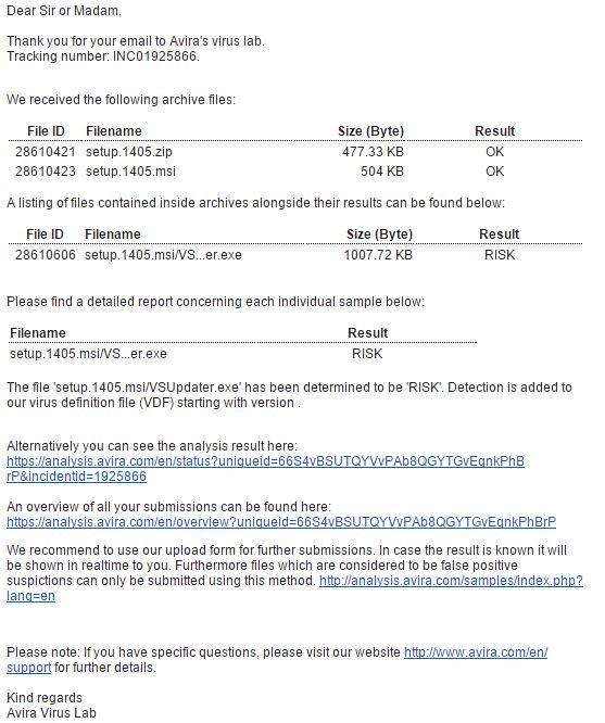 Ответ Avira по поводу вируса VSProtector