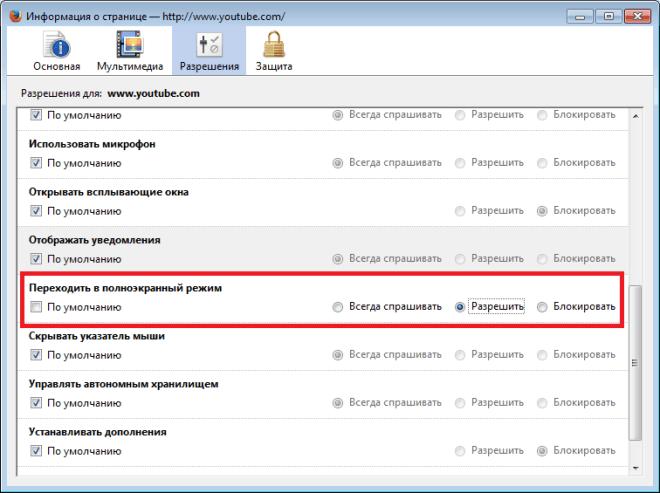 Настройки полноэкранного режима в Firefox