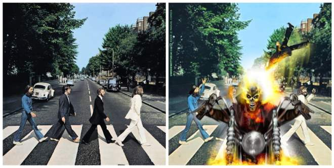 The Beatles album cover Ghost Rider cover parody