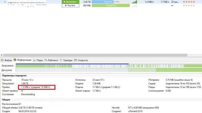 Скриншот программы uTorrent