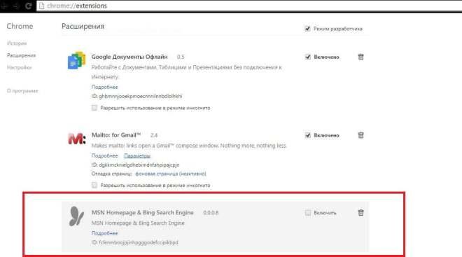 Вирусное расширение MSN Homepage & Bing Search Engine в списке расширений Google Chrome