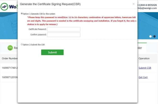 WoSign запрос создания сертификата