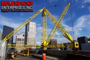 Budco NYC Highrise Rooftop Derrick Rigging Equipment