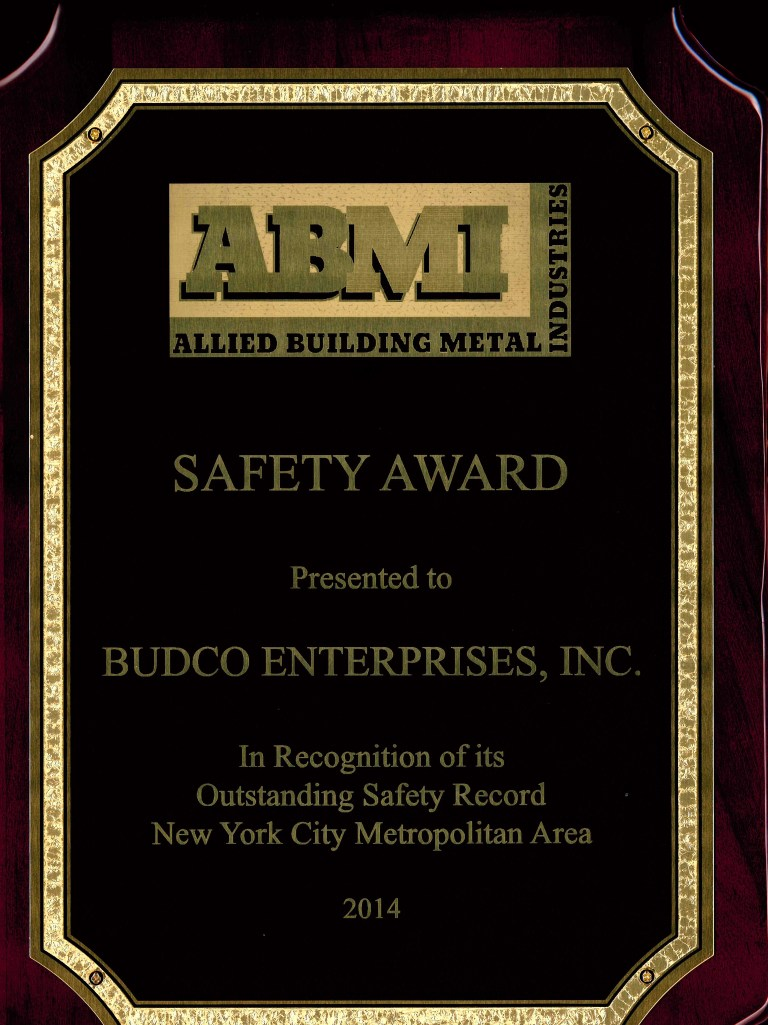 Awarded by Allied Building Metal Industries for Budco's safety record during the 2014 calendar year