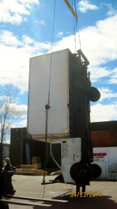 The Master Riggers at Budco were contracted by an artist to fabricate steel frames for two box trucks so they could be stood on end. We completed several test lifts at our own facility before transporting them to their final location for installation.
