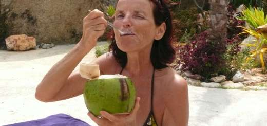 Anasha with her beloved coconut in Thailand 5 years ago... after a Cleanse