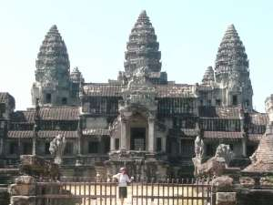 """Anasha at the back view of Angkor Wat... In the 1800's the ruins of an ancient and very enlightened civilization was discovered, and many """"living Buddhas"""" were teaching there"""
