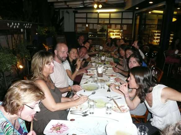 "friends from all the world joined Anasha and Anubuddha on January 1st, 2012, to welcome in the new frequencies with a 2 week ""Deep Cleanse Experience"". It was totally amazing, and here we are enjoying a meal together. We're going to do it again in 2015!"