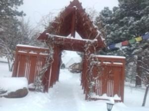 Snowy welcome at Eldorado Mountain Yoga Ashram