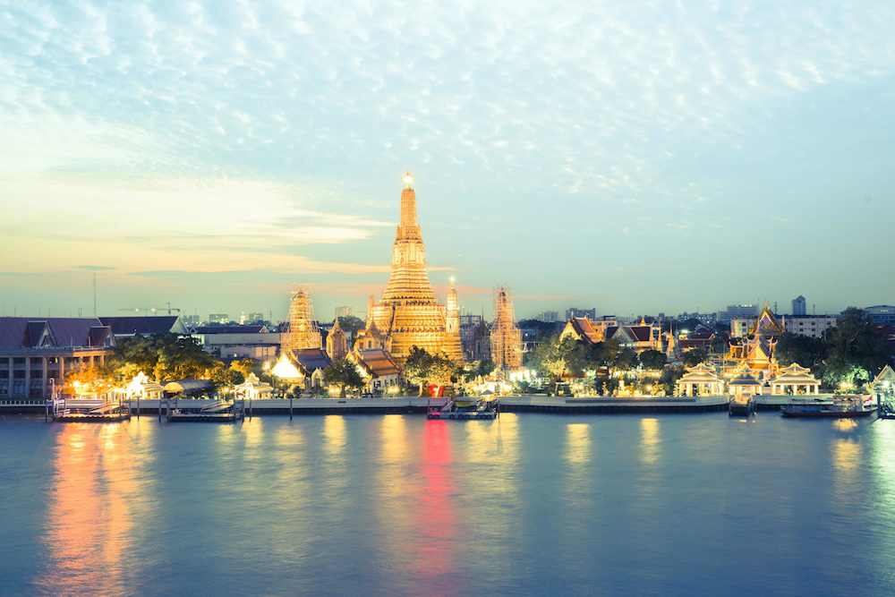 Want the best view of Wat Arun at sunset? Head to the Sala Rattanakosin hotel. Take the spiral stairs to the very top and grab a seat and a cocktail. Every direction gives views of temples lit up at dusk