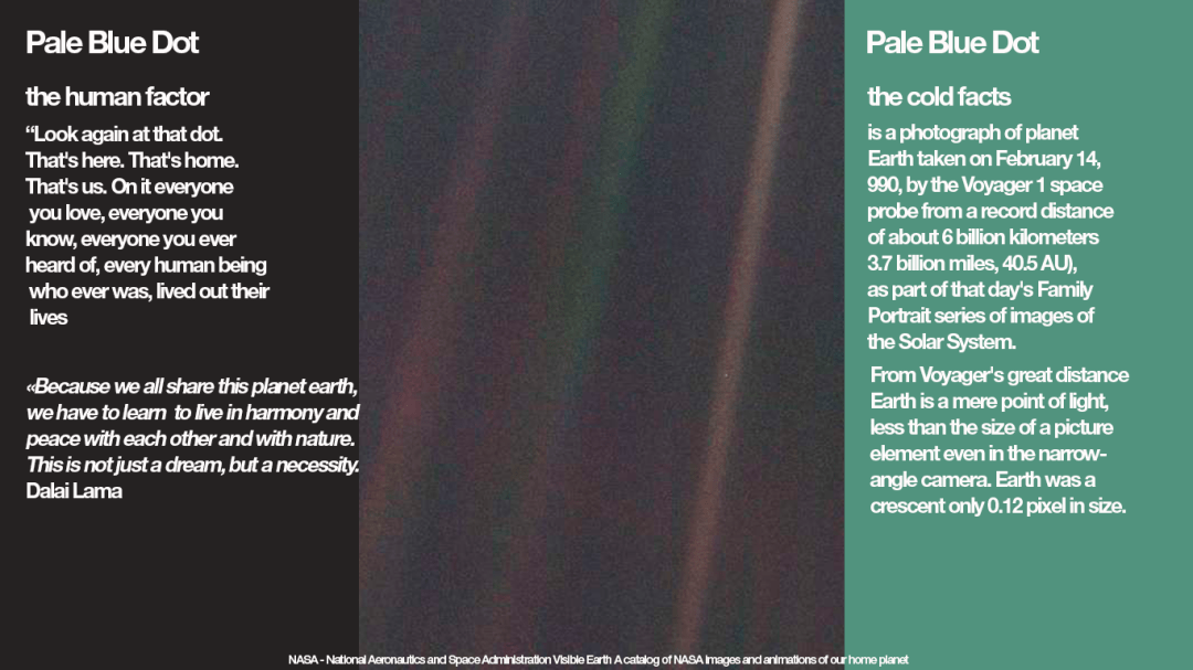 "This narrow-angle colour image of the Earth, dubbed 'Pale Blue Dot', is a part of the first ever 'portrait' of the solar system taken by Voyager 1. The spacecraft acquired a total of 60 frames for a mosaic of the solar system from a distance of more than 4 billion miles from Earth and about 32 degrees above the ecliptic. NASA - National Aeronautics and Space Administration Visible Earth A catalog of NASA images and animations of our home planet. ""Because we all share this planet earth, we have to learn to live in harmony and peace with each other and with nature. This is not just a dream, but a necessity"" Dalai Lama. Graphics Kenneth Buddha Jeans"