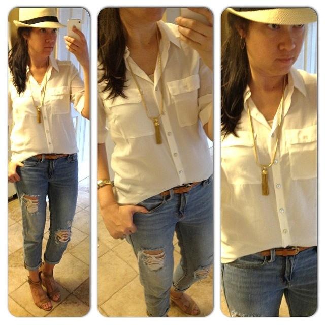 hat: Charlotte Russe // top: H&M // jeans: Gap // tassel necklace: J.Crew // wedges: Nine West c/o Ross