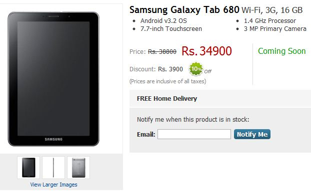 Samsung Galaxy Tab 680 to launch in India for Rs. 34,900