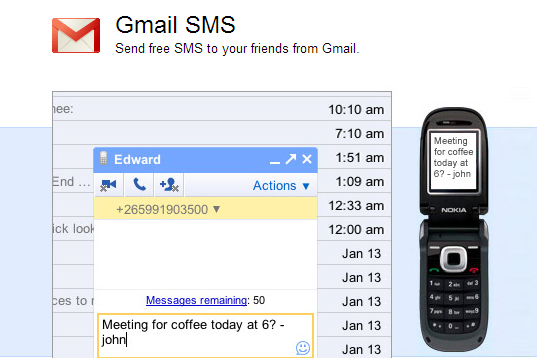 Now send Free SMS from Gmail!