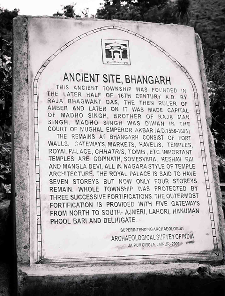 Bhangarh Description Board