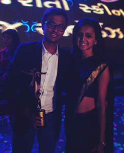 Raghuvir Joshi and Chhavi Joshi at  Gujarati Transmedia  Awards