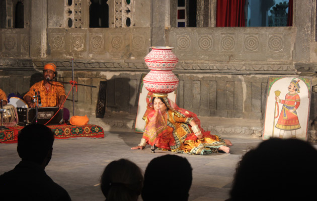 Bhavai Dance - Dharohar Cultural Evening Program at Bagore Ki Haveli Udaipur