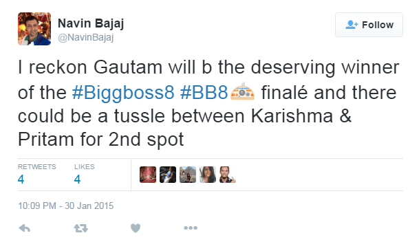 Navin Bajaj Bigg Boss 8 Prediction
