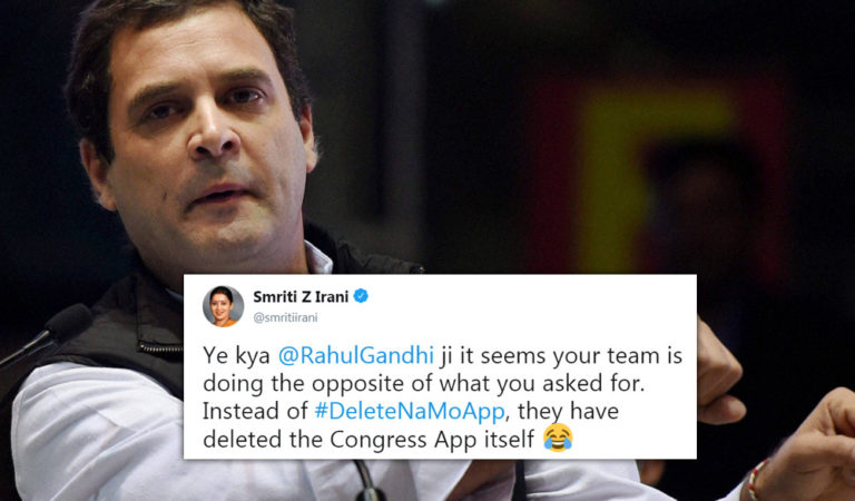 Rahul Gandhi Asks People To Delete NaMo App, Congress Deletes Their Own App From App Store!